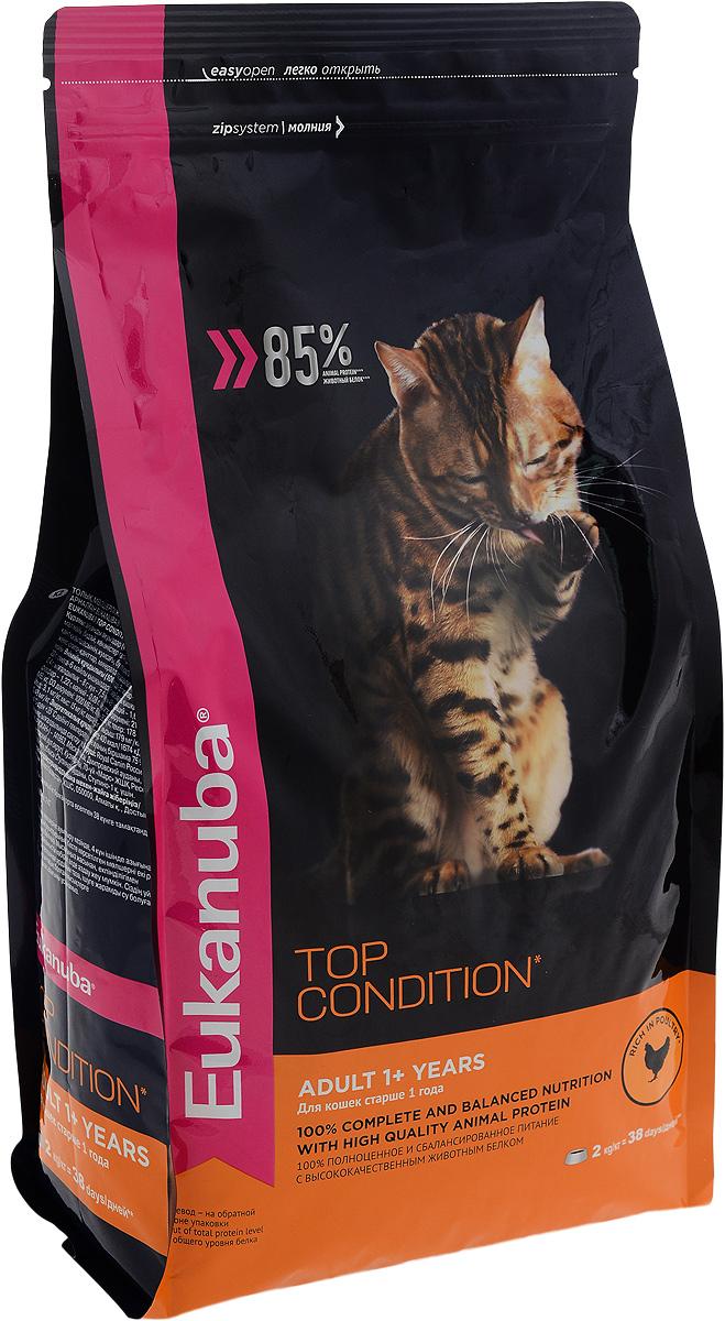 Корм сухой Eukanuba Top Condition для взрослых кошек, с домашней птицей, 2 кг0120710Сухой корм Eukanuba Top Condition - полнорационный сухой корм для взрослых кошек старше 1 года. 100% полноценное и сбалансированное питание с высококачественным животным белком. Поддерживает здоровье кошки по шести ключевым признакам и обеспечивает отличную физическую форму.1. НАДЕЖНАЯ ЗАЩИТАСпособствует поддержанию иммунной системы за счет антиоксидантов.2. ОПТИМАЛЬНОЕ ПИЩЕВАРЕНИЕСпособствует поддержанию здоровой кишечной микрофлоры за счет пребиотиков и клетчатки.3. ЗДОРОВЬЕ МОЧЕВЫВОДЯЩЕЙ СИСТЕМЫРазработан специально для поддержания здоровья мочевыводящий путей.4. СИЛЬНЫЕ МЫШЦЫБелки животного происхождения способствуют росту и сохранению мышечной массы. Содержит 85% животного белка (от общего уровня белка).5. ЗДОРОВЬЕ КОЖИ И ШЕРСТИСпособствует сохранению здоровья кожи и блестящей шерсти, благодаря рыбьему жиру и оптимальному соотношению омега-6 и омега-3 жирных кислот.6. ЗДОРОВЫЕ ЗУБЫПоддерживает здоровье зубов. Состав: белки животного происхождения (домашняя птица 41 %, источник натурального таурина), рис, жир животный, пшеница, овощные волокна, гидролизированный животный белок, пульпа сахарной свеклы, сухое цельное яйцо, фрукто-олиго-сахариды, минералы, высушенные пивные дрожжи, рыбий жир. Пищевая ценность (100 г): белки - 35 г, жиры - 22 г, омега-6 жирные кислоты - 3,13 г, омега-3 жирные кислоты - 0,4 г, влажность - 8 г, зола - 7,5 г, клетчатка - 4,6 г, кальций - 1,63 г, фосфор - 1,22 г, магний - 0,08 г. Добавленные вещества: витамин A: 21000 МЕ\кг, витамин D3: 1000 МЕ\кг, витамин E: 260 мг\кг, железо: 178 мг\кг, йод: 3,1 мг\кг, медь: 15 мг\кг, марганец: 55 мг\кг, цинк: 179 мг\кг, селен: 0,48 мг\кг.Энергетическая ценность (100 г): 400 Ккал/1674 кДж. Товар сертифицирован.