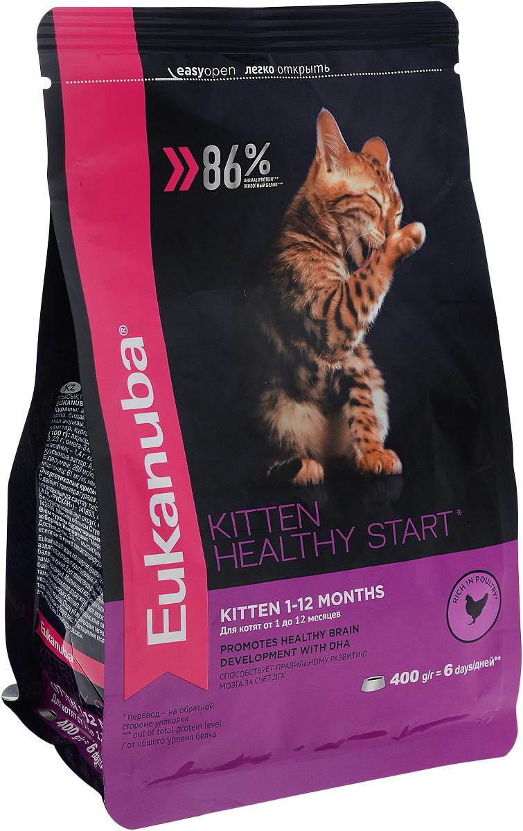 Корм сухой для котят Eukanuba Kitten Healthy Start, с домашней птицей, 400 г0120710Сухой корм Eukanuba Kitten Healthy Start - полнорационный сухой корм для котят от 1 до 12 месяцев и беременных или кормящих кошек.Корм Eukanuba для котят содержит докозагексаеновую кислоту, способствующую правильному развитию мозга котят. 100% сбалансированный корм, поддерживает здоровье котенка по ключевым признакам и обеспечивает здоровый рост. 1. ЗДОРОВЫЙ РОСТПоддерживает здоровый рост организма за счет сбалансированного высококачественного питания.2. НАДЕЖНАЯ ЗАЩИТАСпособствует поддержанию иммунной системы за счет антиоксидантов.3. ОПТИМАЛЬНОЕ ПИЩЕВАРЕНИЕСпособствует поддержанию здоровой кишечной микрофлоры за счет пребиотиков и клетчатки.4. СИЛЬНЫЕ МЫШЦЫБелки животного происхождения способствуют росту и сохранению мышечной массы. Содержит 86% животного белка (от общего уровня белка).5. ЗДОРОВЬЕ КОЖИ И ШЕРСТИСпособствует сохранению здоровья кожи и блестящей шерсти, благодаря рыбьему жиру и оптимальному соотношению омега-6 и омега-3 жирных кислот.6. ЗДОРОВЫЕ ЗУБЫПоддерживает здоровье зубов. Состав: белки животного происхождения (домашняя птица 43%, источник натурального таурина), жир животный, ячмень, пшеница, пшеничная мука, рис, сухое цельное яйцо, гидролизированный животный белок, пульпа сахарной свеклы, рыбий жир, фрукто-олиго-сахариды, высушенные пивные дрожжи, минералы. Пищевая ценность (100 г): белки - 36 г, жиры - 24 г, омега-6 жирные кислоты - 3,23 г, омега-3 жирные кислоты - 0,64 г, влажность - 8 г, зола - 7,0 г, клетчатка - 1,4 г, кальций - 1,61 г, фосфор - 1,25 г, магний - 0,09 г.Добавленные вещества: витамин A: 21000 МЕ/кг, витамин D3: 1000 МЕ/кг, витамин E: 260 мг/кг, железо: 178 мг/кг, йод: 3,2 мг/кг, медь: 15 мг/кг, марганец: 61 мг/кг, цинк: 182 мг/кг, селен: 0,48 мг/кг, докозагексаеновая кислота: 0,1 г/кг. Энергетическая ценность (100 г): 437 ккал/1830 кДж. Товар сертифицирован.