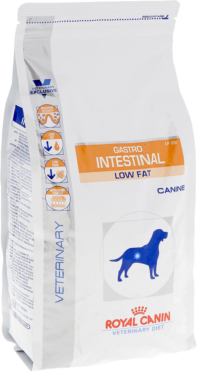 Корм сухой Royal Canin Gastro Intestinal. Low Fat LF22 для собак, при нарушении пищеварения, c пониженным содержанием жира, 1,5 кг0120710Royal Canin Gastro Intestinal GL3 - это полнорационный диетический корм для собак, способствующий регуляции метаболизма липидов при гиперлипидемии. Этот продукт содержит малое количество жиров и высокий уровень основных жирных кислот. Показания к применению:- острая и хроническая диарея;- острый и хронический панкреатит;- пролиферация бактерий в тонком кишечнике;- гиперлипидемия;- лимфангиэктазия - экссудативная энтеропатия;- экзокринная недостаточность поджелудочной железы; Противопоказания:- беременность и лактация. Длительность курса применения. Длительность применения диеты варьируется в зависимости от тяжести симптомов нарушения пищеварения.Для оптимальной работы пищеварительной системы необходимо соблюдение суточного рациона и увеличение его кратности кормлений в день.Безопасность пищеварительной системы. Сочетание высококачественных белков с высокой степенью усвояемости (L.I.P.**белки), пребиотиков (фруктоолигосахариды и маннановые олигосахариды), свекольного жома, риса и рыбьего жира обеспечивает максимальную безопасность пищеварения. Пониженное содержание жиров. Низкая концентрация жиров в диете улучшает пищеварительную функцию у собак, страдающих гиперлипидемией или острым панкреатитом.Пониженное содержание клетчатки. Невысокое содержание растворимой клетчатки снижает чрезмерную ферментацию в толстом отделе кишечника. Низкое содержание нерастворимой клетчатки помогает избежать энергетических затрат на ее переваривание, а также свести к минимуму потерю вкусовой привлекательности диеты.Комплекс антиоксидантов. Комплекс антиоксидантов синергичного действия снижает уровень окислительного стресса и борется со свободными радикалами. Состав: дегидратированные белки животного происхождения (птица), рис, животные жиры, пшеница, ячмень, гидролизат белков животного происхождения, минеральные вещества, свекольный жом, рыбий жир, дрож