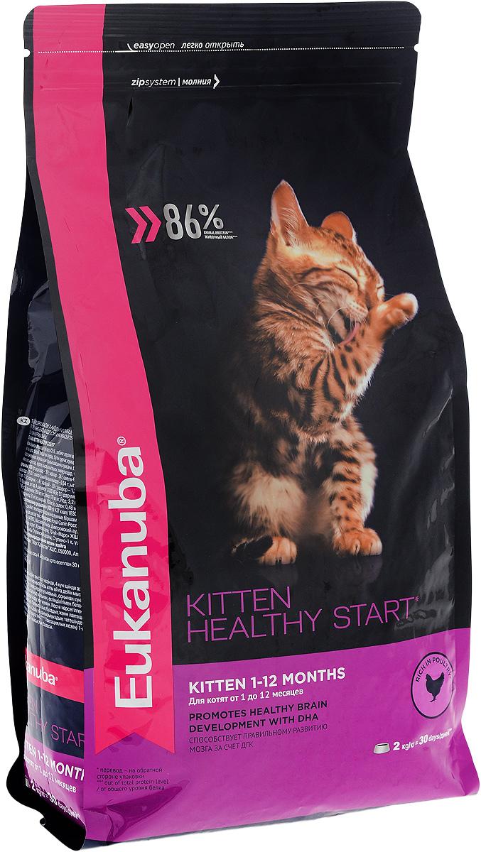 Корм сухой для котят Eukanuba Kitten Healthy Start, с домашней птицей, 2 кг0120710Сухой корм Eukanuba Kitten Healthy Start - полнорационный сухой корм для котят от 1 до 12 месяцев и беременных или кормящих кошек.Корм Eukanuba для котят содержит докозагексаеновую кислоту, способствующую правильному развитию мозга котят. 100% сбалансированный корм, поддерживает здоровье котенка по ключевым признакам и обеспечивает здоровый рост. 1. ЗДОРОВЫЙ РОСТПоддерживает здоровый рост организма за счет сбалансированного высококачественного питания.2. НАДЕЖНАЯ ЗАЩИТАСпособствует поддержанию иммунной системы за счет антиоксидантов.3. ОПТИМАЛЬНОЕ ПИЩЕВАРЕНИЕСпособствует поддержанию здоровой кишечной микрофлоры за счет пребиотиков и клетчатки.4. СИЛЬНЫЕ МЫШЦЫБелки животного происхождения способствуют росту и сохранению мышечной массы. Содержит 86% животного белка (от общего уровня белка).5. ЗДОРОВЬЕ КОЖИ И ШЕРСТИСпособствует сохранению здоровья кожи и блестящей шерсти, благодаря рыбьему жиру и оптимальному соотношению омега-6 и омега-3 жирных кислот.6. ЗДОРОВЫЕ ЗУБЫПоддерживает здоровье зубов. Состав: белки животного происхождения (домашняя птица 43%, источник натурального таурина), жир животный, ячмень, пшеница, пшеничная мука, рис, сухое цельное яйцо, гидролизированный животный белок, пульпа сахарной свеклы, рыбий жир, фрукто-олиго-сахариды, высушенные пивные дрожжи, минералы. Пищевая ценность (100 г): белки - 36 г, жиры - 24 г, омега-6 жирные кислоты - 3,23 г, омега-3 жирные кислоты - 0,64 г, влажность - 8 г, зола - 7,0 г, клетчатка - 1,4 г, кальций - 1,61 г, фосфор - 1,25 г, магний - 0,09 г.Добавленные вещества: витамин A: 21000 МЕ/кг, витамин D3: 1000 МЕ/кг, витамин E: 260 мг/кг, железо: 178 мг/кг, йод: 3,2 мг/кг, медь: 15 мг/кг, марганец: 61 мг/кг, цинк: 182 мг/кг, селен: 0,48 мг/кг, докозагексаеновая кислота: 0,1 г/кг. Энергетическая ценность (100 г): 437 ккал/1830 кДж. Товар сертифицирован.