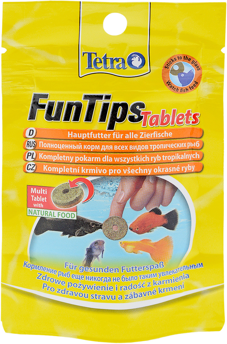 Корм Tetra FunTips Tablets для всех видов тропических рыб, 8 г, 20 таблеток0120710Корм Tetra FunTips Tablets - это полноценный корм для всех видов тропических рыб, состоящий из хлопьев и сублимированных микроорганизмов и спрессованный в виде таблеток.Корм уникален тем, что может быть приклеен к аквариумному стеклу. Таблетки прикрепляются к стеклу, что предоставляет хозяину аквариума возможность наблюдать за рыбками в период кормления.Применение: кормить несколько раз в день маленькими порциями. Состав: молоко и молочные продукты, моллюски и ракообразные (в том числе дафния 9,5%, артемия 6%, гаммарус 4,5%, ракообразные 2%), рыба и побочные рыбные продукты, растительные экстракты белка, зерновые, дрожжи, водоросли (спирулина 1,8%), масла и жиры, сахар, минеральные вещества.Товар сертифицирован.
