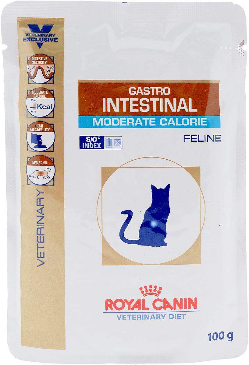 Консервы диетические Royal Canin Gastro Intestinal. Moderate Calorie для кошек, при нарушениях пищеварения, c пониженным содержанием жира, 100 г22328Royal Canin Gastro Intestinal. Moderate Calorie - это полнорационные диетические консервы для кошек с пониженным содержанием жира, рекомендуемый при острых расстройствах пищеварения. Показания к применению:- острая и хроническая диарея;- плохая переваримость и абсорбция питательных веществ;- пролиферация бактерий в тонком кишечнике;- Хроническое воспаление кишечника;- колит;- Заболевания печени (кроме печеночной энцефалопатии); - Панкреатит; - Экссудативная энтеропатия; - гастрит.Длительность курса применения. Для усиления регенераторной способности ворсинчатого эпителия стенки кишечника при остром воспалительном процессе рекомендуется диетотерапия с минимальным сроком три недели. При хронических заболеваниях может потребоваться назначение диетического корма на протяжении всей жизни животного. Для оптимальной работы пищеварительной системы необходимо соблюдение суточного рациона и увеличение его кратности. Безопасность пищеварительной системы. Сочетание высококачественных белков с высокой степенью усвояемости (L.I.P. белки), пребиотиков (фруктоолигосахариды и маннановые олигосахариды), свекольного жома, риса и рыбьего жира обеспечивает максимальную безопасность пищеварения. Умеренное содержание энергии. Умеренное содержание энергии в диете рекомендовано не только при панкреатите, но также помогает контролировать массу тела у кастрированных или склонных к избыточному весу животных. Повышенная вкусовая привлекательность. При нарушениях пищеварения часто наблюдаются плохой аппетит и потеря веса. Высокая вкусовая привлекательность стимулирует потребление консервов и способствует выздоровлению. Эйкозапентаеновая и докозагексаеновая кислоты, длинноцепочечные жирные кислоты Омега 3 способствуют поддержанию здоровья пищеварительной системы.Эта диета способствует созданию в мочевыделительной системе среды, неблагоприятной для фо
