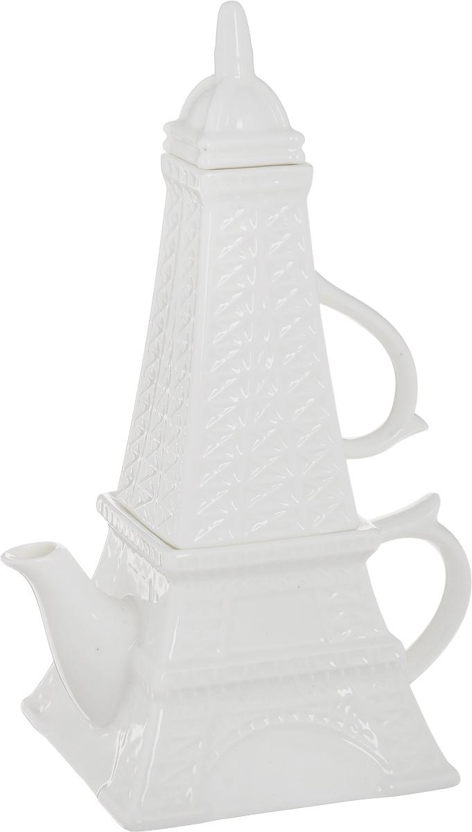 Чайник заварочный Эврика Эйфелева башня, с кружкой115510Стильный чайный набор Эврика Эйфелева башня, выполненный из керамики, в собранном виде напоминает по форме знаменитую парижскую башню, символ Франции. Набор состоит из заварочного чайника и кружки, оснащенных крышками. Возможность компактного хранения и оригинальный дизайн делают этот набор удачным подарком для тех, кто ценит французский шарм и любит проводить время за горячими напитками.Объем чайника: 450 см.Объем кружки: 200 мл.Размер чашки (с учетом ручки): 10 х 6,5 х 12 см.Размер чайника: 17 х 11,5 х 8 см.