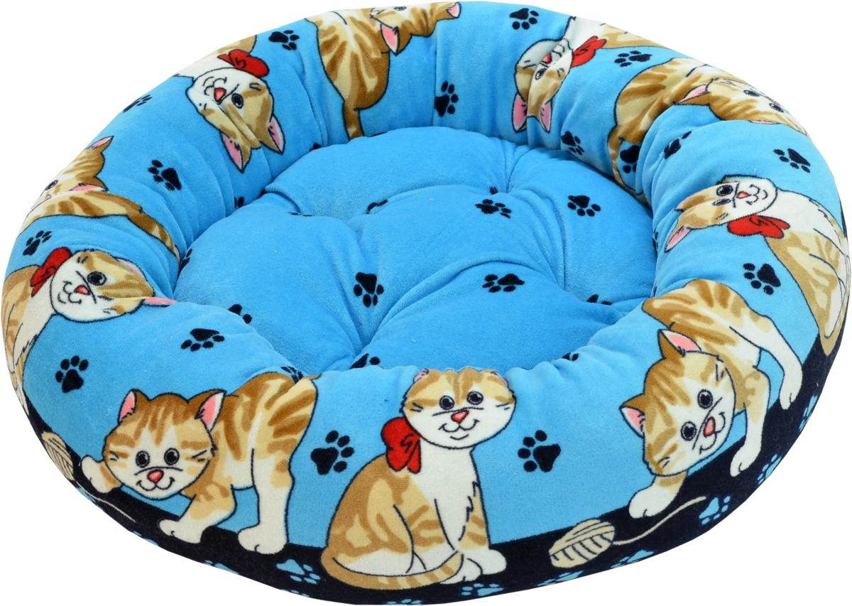 Лежак для животных Зооник, цвет: голубой, синий, 48 х 48 х 15 см0120710Круглый лежак Зооник непременно станет любимым местом отдыха вашего домашнего животного. Изделие выполнено из высококачественного велюра, а наполнитель - из синтепона. Такой материал не теряет своей формы долгое время. Внутри имеется мягкая съемная подстилка.На таком лежаке вашему любимцу будет мягко и тепло. Он подарит вашему питомцу ощущение уюта и уединенности.