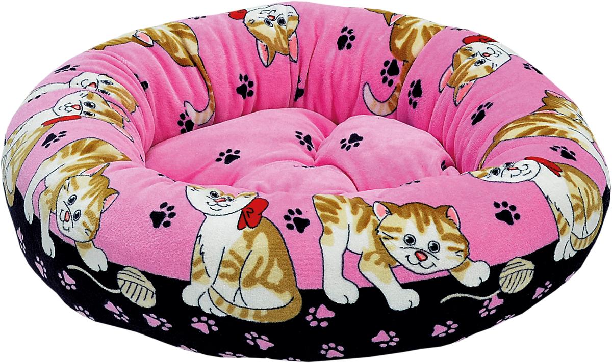 Лежак для животных Зооник, цвет: розовый, черный, 48 х 48 х 15 см0120710Круглый лежак Зооник непременно станет любимым местом отдыха вашего домашнего животного. Изделие выполнено из высококачественного велюра, а наполнитель - из синтепона. Такой материал не теряет своей формы долгое время. Внутри имеется мягкая съемная подстилка.На таком лежаке вашему любимцу будет мягко и тепло. Он подарит вашему питомцу ощущение уюта и уединенности.