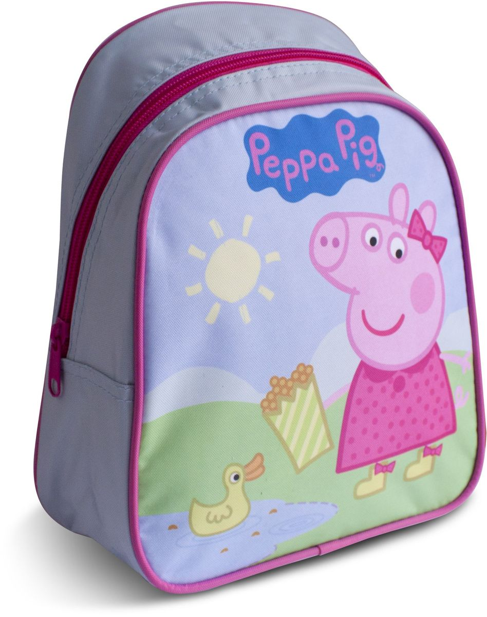 Peppa Pig Рюкзак дошкольный Пеппа и уточкаRA-454-2/3Милый дошкольный рюкзачок от Peppa Pig Пеппа и уточка - обязательно понравится каждой юной любительнице этого популярного мультфильма. Рюкзак выполнен из прочного полиэстера и водонепроницаемой ткани, украшен привлекательным принтом с изображением свинки Пеппы и уточки. Рюкзак имеет одно внутреннее отделение на молнии, регулируемые лямки и специальную ручку для размещения на вешалке, таким образом, рюкзак будет с вашей малышкой на протяжении многих лет. Порадуйте свою малышку таким замечательным подарком!