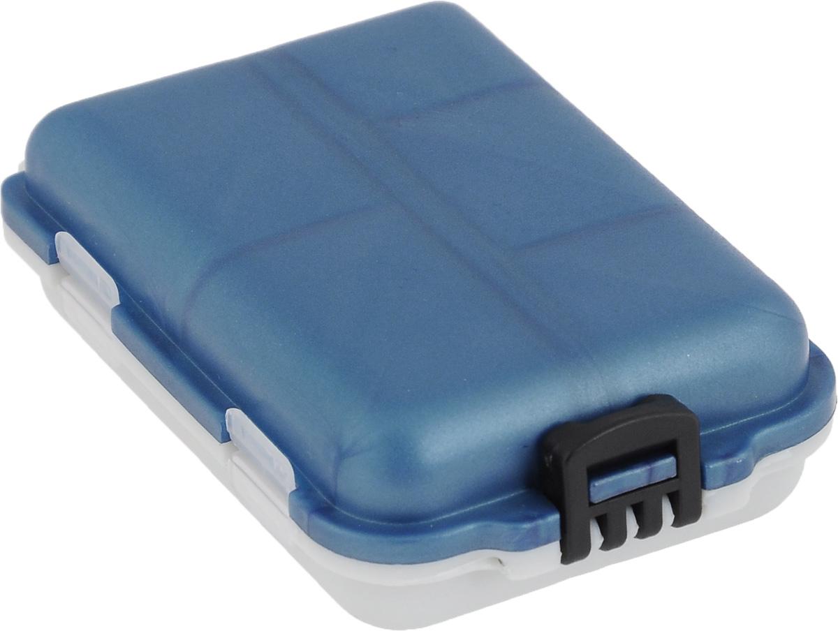Органайзер для мелочей, двухсторонний, цвет: синий, светло-серый, 9,5 х 6 х 2,5 смPGPS7797CIS08GBNVУдобная пластиковая коробка Три кита прекрасно подойдет для хранения и транспортировки различных мелочей: рыболовных снастей, мелких бусин, аксессуаров для рукоделия и многого другого. Коробка имеет 10 фиксированных секций, каждая из которых закрывается прозрачной крышечкой. Удобный замок обеспечивает надежное закрывание коробки. Такая коробка поможет хранить мелкие вещи в порядке.Размер секций: 4 х 2,5 см; 3 х 2,5 см; 2,5 х 2,5 см.
