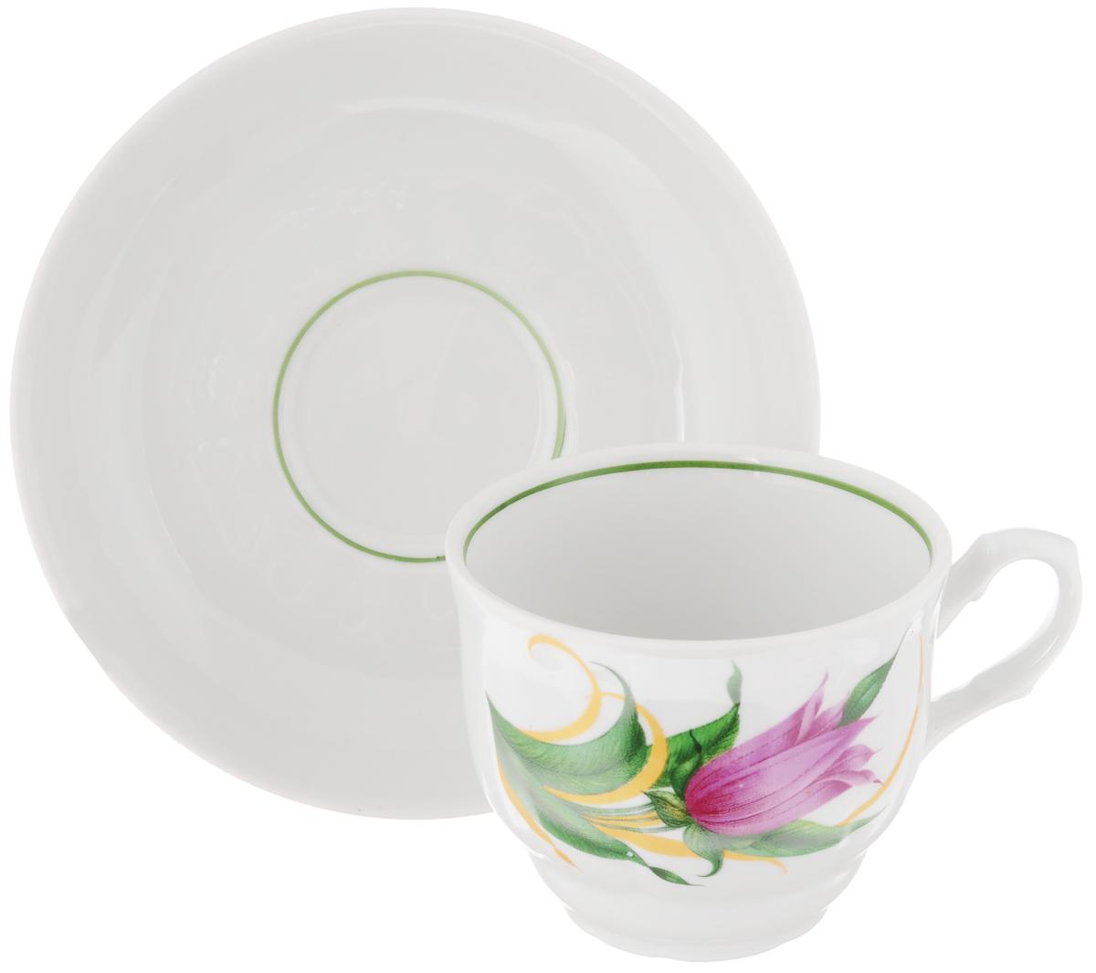 Чайная пара Тюльпан. Колокольчики, 2 предмета115510Чайная пара Тюльпан. Колокольчики состоит из чашки и блюдца, изготовленных из высококачественного фарфора. Яркий дизайн, несомненно, придется вам по вкусу.Чайная пара Тюльпан. Колокольчики украсит ваш кухонный стол, а также станет замечательным подарком к любому празднику.Объем чашки: 250 мл.Диаметр чашки (по верхнему краю): 8,7 см.Высота чашки: 7 см.Диаметр блюдца: 15 см.Высота блюдца: 3 см.