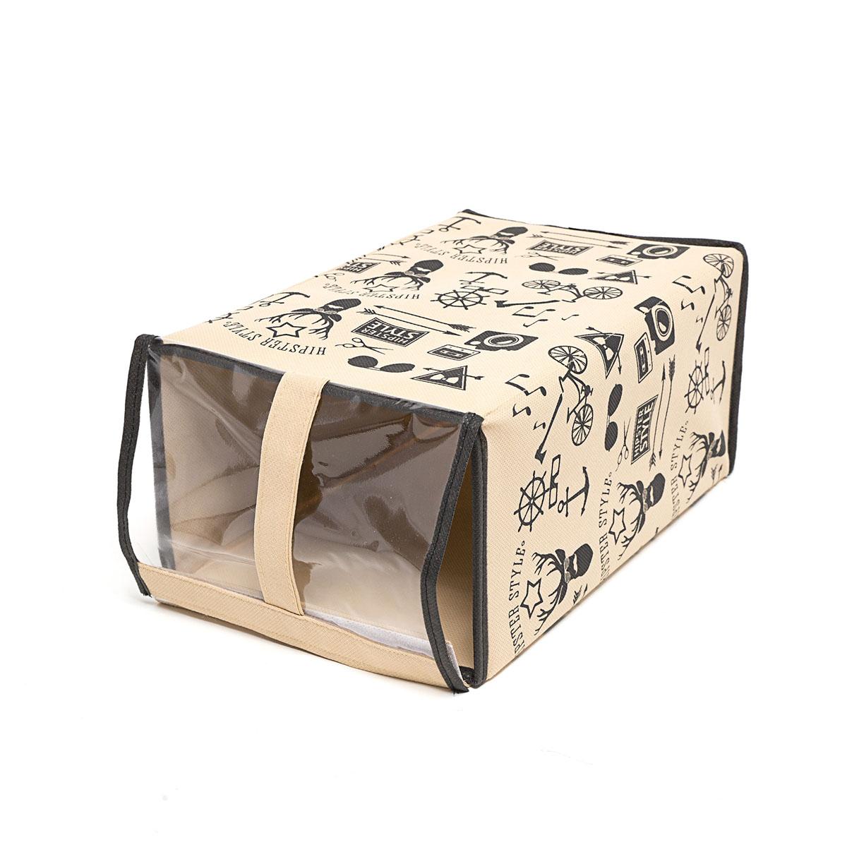 Кофр для хранения обуви Homsu Hipster Style, 33 х 22 х 16 смES-412Кофр Homsu Hipster Style изготовлен из высококачественного нетканого материала с фирменным орнаментом, который позволяет сохранять естественную вентиляцию, а воздуху свободно проникать внутрь, не пропуская пыль. Благодаря специальной картонной вставке, кофр прекрасно держит форму, а эстетичный дизайн гармонично смотрится в любом интерьере. Изделие идеально подходит для хранения обуви. Мобильность конструкции обеспечивает складывание и раскладывание одним движением. Кофр Homsu Hipster Style - это новый взгляд на систему хранения - теперь хранить вещи не только удобно, но и красиво. Прозрачная вставкаиз ПВХ позволяет видеть содержимое.Размер кофра: 33 х 16 х 22 см.