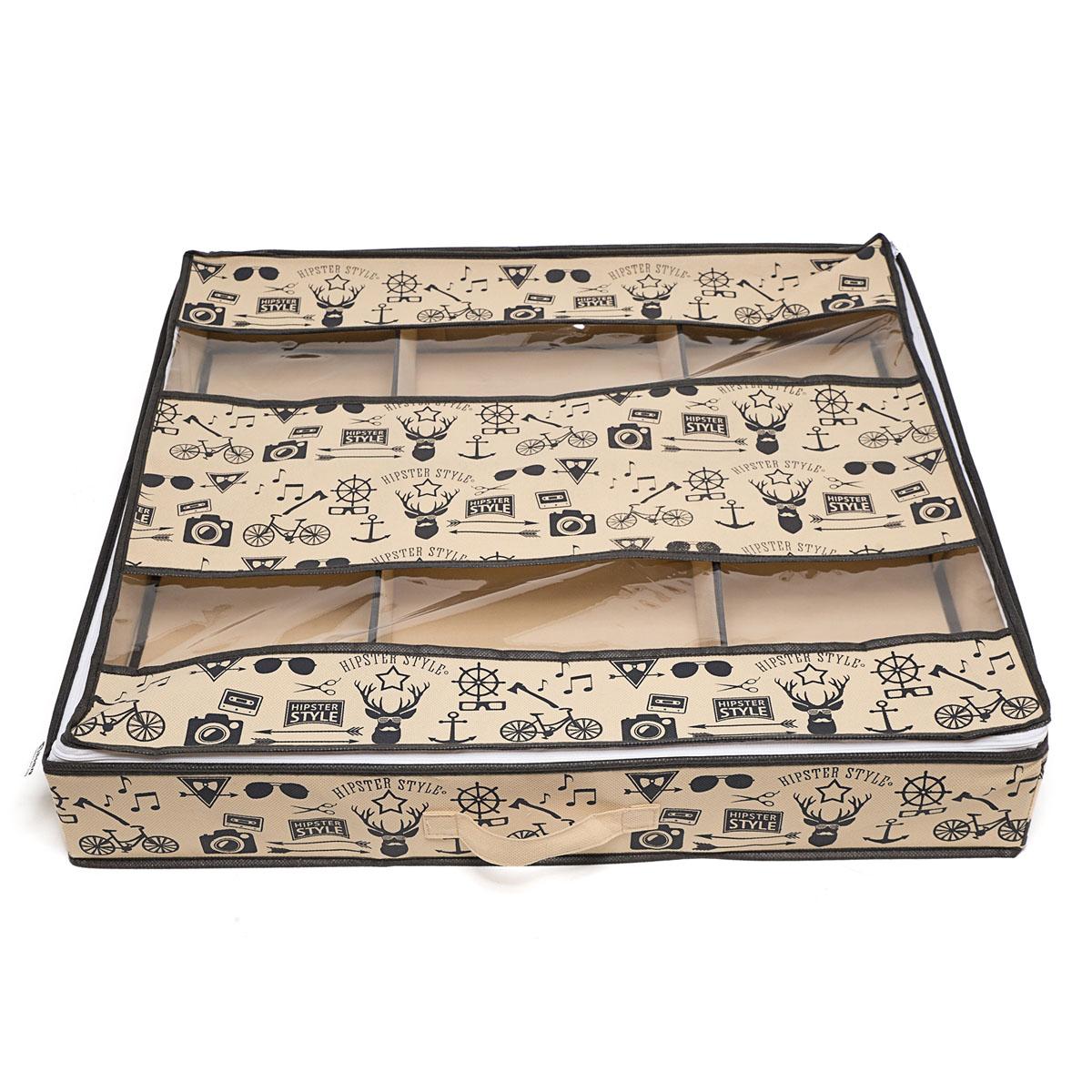 Органайзер для хранения обуви Hipster Style, 6 секций, 66 х 63 х 11 смU210DFКомпактный складной органайзер Homsu Hipster Style изготовлен из высококачественного полиэстера, который обеспечивает естественную вентиляцию. Материал позволяет воздуху свободно проникать внутрь, но не пропускает пыль. Органайзер отлично держит форму, благодаря вставкам из плотного картона. Изделие имеет 6 секций для хранения обуви.Такой органайзер позволит вам хранить вещи компактно и удобно. Размер секции: 20 х 32 см.