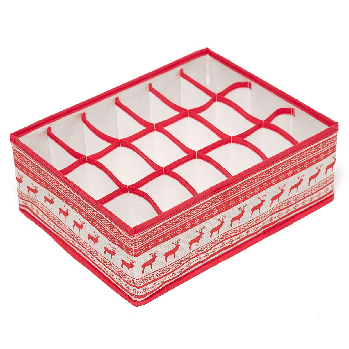 Органайзер для хранения вещей Homsu Scandinavia, 18 секций, 31 х 24 х 11 смTD 0033Компактный складной органайзер Homsu Scandinavia изготовлен из высококачественного полиэстера, который обеспечивает естественную вентиляцию. Материал позволяет воздуху свободно проникать внутрь, но не пропускает пыль. Органайзер отлично держит форму, благодаря вставкам из плотного картона. Изделие имеет 18 квадратных секций для хранения носков, платков, галстуков и других вещей.Такой органайзер позволит вам хранить вещи компактно и удобно.Размер секции: 7 х 5 см.