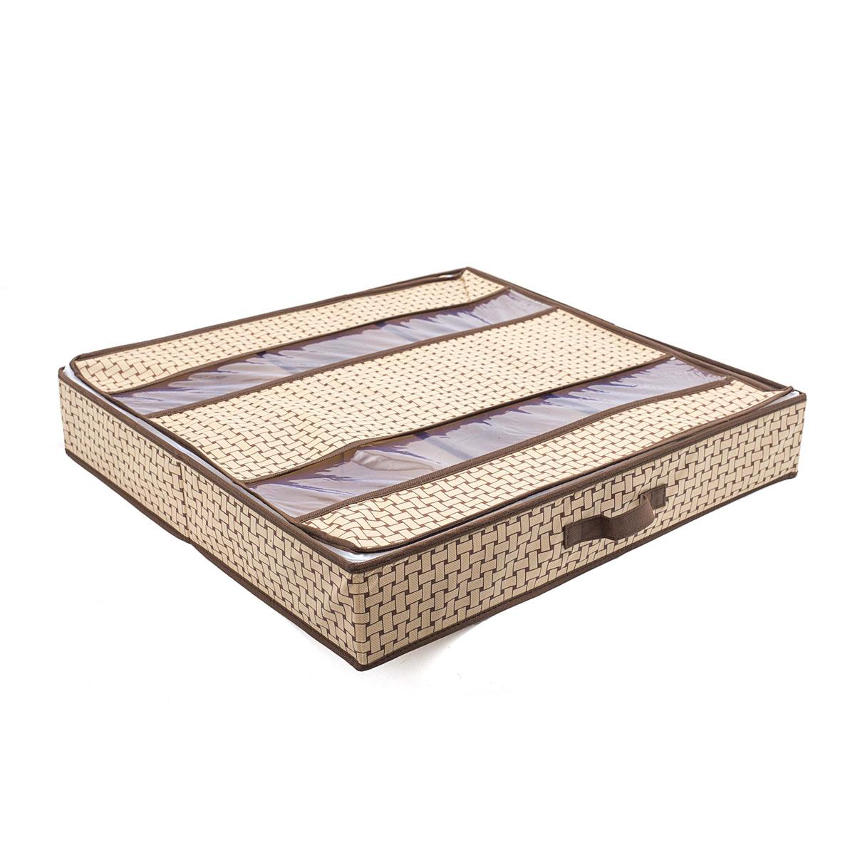 Органайзер для хранения обуви Homsu Pletenka, 6 секций, 66 х 63 х 11 смS03301004Компактный складной органайзер Homsu Pletenka изготовлен из высококачественного полиэстера, который обеспечивает естественную вентиляцию. Материал позволяет воздуху свободно проникать внутрь, но не пропускает пыль. Органайзер отлично держит форму, благодаря вставкам из плотного картона. Изделие имеет 6 секций для хранения обуви.Такой органайзер позволит вам хранить вещи компактно и удобно. Размер секции: 20 х 32 см.