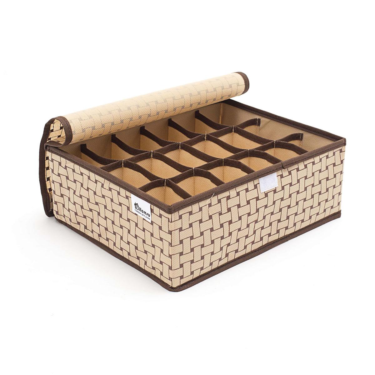 Органайзер для хранения вещей Homsu Pletenka, 18 секций, 31 х 24 х 11 см6113MКомпактный складной органайзер Homsu Pletenka изготовлен из высококачественного полиэстера, который обеспечивает естественную вентиляцию. Материал позволяет воздуху свободно проникать внутрь, но не пропускает пыль. Органайзер отлично держит форму, благодаря вставкам из плотного картона. Изделие имеет 18 квадратных секций для хранения нижнего белья, колготок, носков и другой одежды.Такой органайзер позволит вам хранить вещи компактно и удобно, а оригинальный дизайн сделает вашу гардеробную красивой и невероятно стильной.
