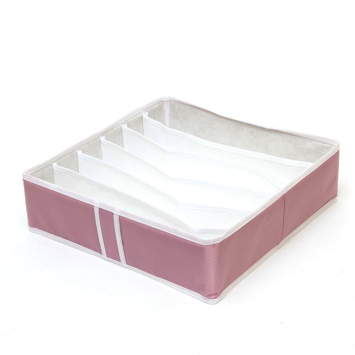 Органайзер для хранения Homsu Capri, 6 секций, 35 x 35 x 10 смHOM-34Компактный органайзер Homsu Capri изготовлен из высококачественного полиэстера, который обеспечивает естественную вентиляцию. Материал позволяет воздуху свободно проникать внутрь, но не пропускает пыль. Органайзер отлично держит форму, благодаря вставкам из плотного картона. Изделие имеет 6 секций для хранения носков, платков, галстуков и других вещей.Такой органайзер позволит вам хранить вещи компактно и удобно.Размер секции: 32 х 5 см.