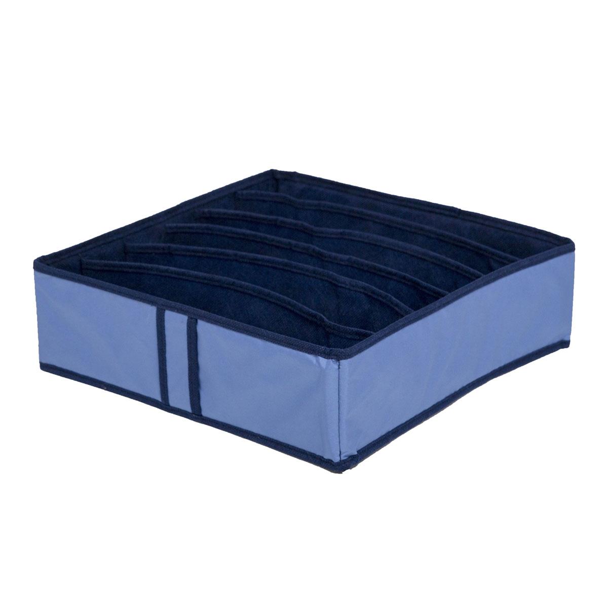Органайзер для хранения вещей Homsu Bluе Sky, 6 секций, 35 x 35 x 10 смTD 0033Компактный органайзер Homsu Bluе Sky изготовлен из высококачественного полиэстера, который обеспечивает естественную вентиляцию. Материал позволяет воздуху свободно проникать внутрь, но не пропускает пыль. Органайзер отлично держит форму, благодаря вставкам из плотного картона. Изделие имеет 6 квадратных секций для хранения нижнего белья, колготок, носков и другой одежды.Такой органайзер позволит вам хранить вещи компактно и удобно.