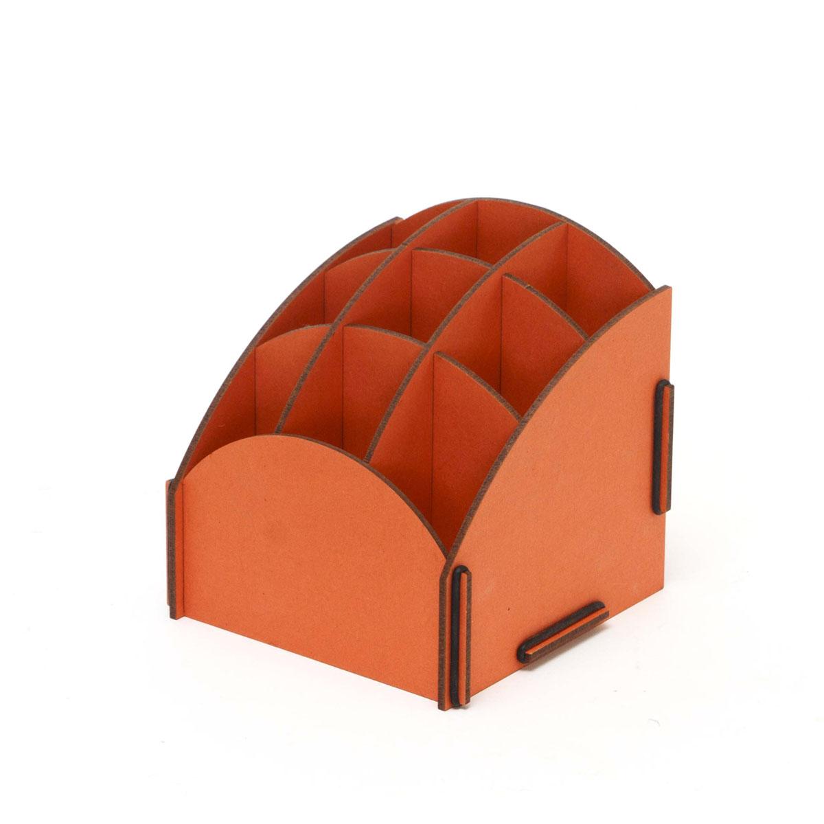 Органайзер настольный Homsu, 9 секций, цвет: оранжевый, 13,8 x 13,8 x 14 смS03301004Настольный органайзер Homsu выполнен из МДФ и легко собирается из съемных частей. Изделие имеет 9 отделений для хранения документов, канцелярских предметов и всяких мелочей. Органайзер просто незаменим на рабочем столе, он вместителен и не занимает много места. Оригинальный дизайн дополнит интерьер дома и разбавит цвет в скучном сером офисе. Размер: 13,8 х 13,8 х 14 см.