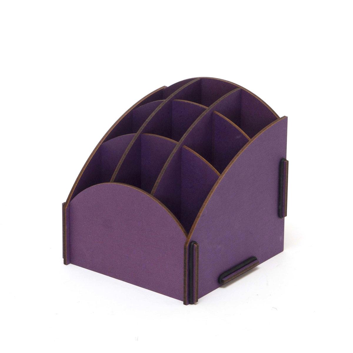 Органайзер настольный Homsu, 9 секций, цвет: фиолетовый, 13,8 x 13,8 x 14 смS03301004Настольный органайзер Homsu выполнен из МДФ и легко собирается из съемных частей. Изделие имеет 9 отделений для хранения документов, канцелярских предметов и всяких мелочей. Органайзер просто незаменим на рабочем столе, он вместителен и не занимает много места. Оригинальный дизайн дополнит интерьер дома и разбавит цвет в скучном сером офисе. Размер: 13,8 х 13,8 х 14 см.