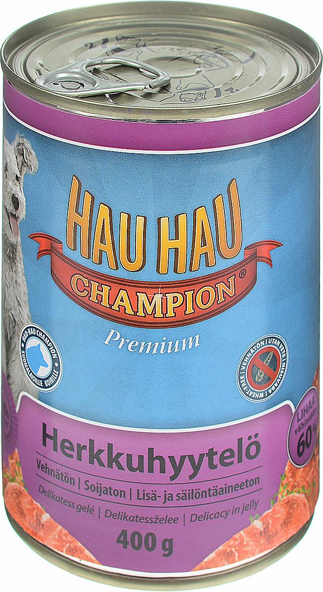 Консервы для собак Hau-Hau Champion, с кусочками говядины в желе, 400 г2472Консервы Hau-Hau Champion — полноценный корм для собак любого возраста. Не содержат сои, пшеницы, пищевых добавок и красителей. Благодаря большому содержанию мяса продукт легко усваивается. Консервы можно давать собаке отдельно, так как они содержат все необходимые питательные вещества, или же смешивать с сухим кормом, чтобы сделать его еще более вкусным.Состав: мясо и продукты животного происхождения 60 % (из которых говядина 10 %), кукуруза 10 %, витамины и минералы.. Витамины и минералы на кг: витамин A 2000 IU, витамин D3 200 IU, медь (сульфат пентагидрат меди) 0,1 мг.Пищевая ценность: влажность 80 %, белки 7 %, масла и жиры 6 %, прокаленный остаток 3 %, клетчатка 1,2 %.Товар сертифицирован.