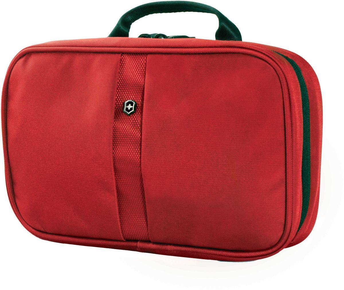 Несессер Victorinox Zip-Around Travel Kit, цвет: красный, 28 х 8 х 18 см23008Несессер Victorinox Zip-Around Travel Kit, выполненный из нейлона, идеально подходит для хранения небольших туалетных принадлежностей. Основное отделение имеет два кармана из воздухопроницаемой сетки AirMesh, большой карман на молнии, непромокаемое отделение с легкой в уходе антибактериальной подкладкой и съемное отделение с карманом на молнии. Благодаря специальному крючку, который легко спрятать, когда он не используется, несессер можно повесить на держатель для душа либо полотенец. Также изделие снабжено удобной ручкой для переноски.
