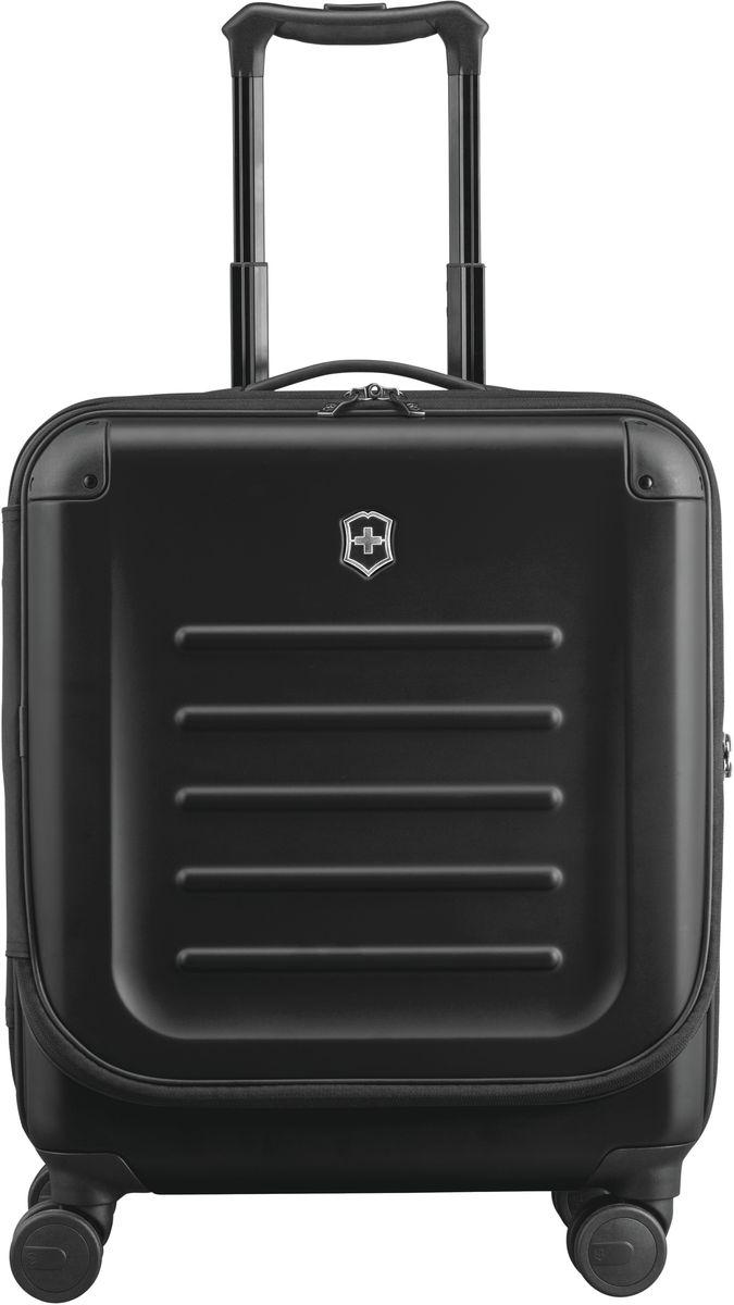 Чемодан Victorinox Spectra Dual-Access, цвет: черный. 31318101КомфортЧемодан Victorinox Spectra Dual-Access выполнен из ударопрочного поликарбоната Bayer. Удобный чемодан со специальной дверцей для быстрого доступа к наиболее необходимым в путешествии вещам, идеально подходит для коротких поездок и отвечает большинству международных требований для ручной клади, включая требования Международной ассоциации воздушного транспорта IATA.Лицевая дверца чемодана на молнии с организационной секцией дает возможность буквально на ходу получить доступ к наиболее необходимым в путешествии вещам, например, к ноутбуку с диагональю до 15.6 (40 см), планшету, смартфону, паспорту, билетам и другим вещам.Конструкция чемодана с двойным доступом позволяет упаковывать вещи с двух сторон: через переднюю крышку или, открыв основное отделение.