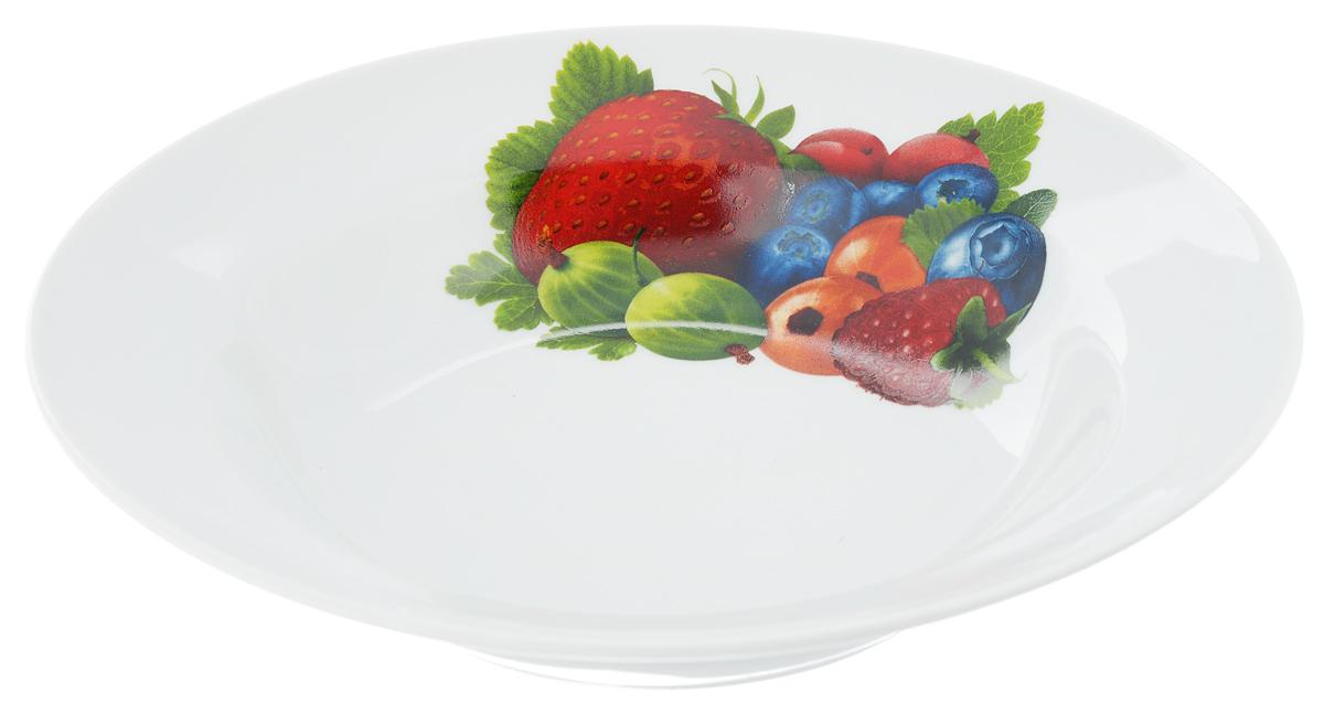 Тарелка глубокая Идиллия. Ассорти, диаметр 24 смFS-91909Глубокая тарелка Идиллия. Ассорти выполнена из высококачественного фарфора и украшена ярким рисунком. Она прекрасно впишется в интерьер вашей кухни и станет достойным дополнением к кухонному инвентарю. Тарелка Идиллия. Ассорти подчеркнет прекрасный вкус хозяйки и станет отличным подарком.