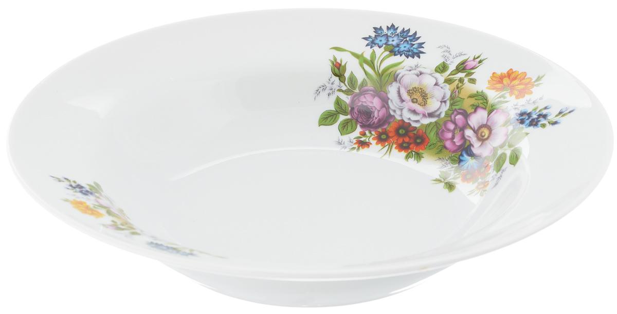 Тарелка глубокая Идиллия. Букет цветов, диаметр 24 см115510Глубокая тарелка Идиллия. Букет цветов выполнена из высококачественного фарфора и украшена ярким рисунком. Она прекрасно впишется в интерьер вашей кухни и станет достойным дополнением к кухонному инвентарю. Тарелка Идиллия. Букет цветов подчеркнет прекрасный вкус хозяйки и станет отличным подарком.