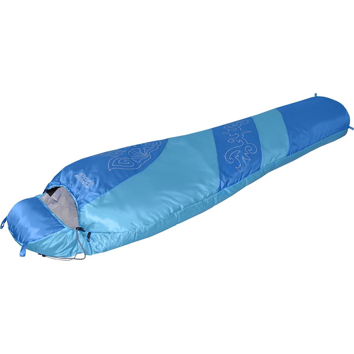 Мешок NOVA TOUR Сахалин 0 V2, цвет: голубой, синий, белый, левосторонняя молния95424-426-LeftДемисезонный спальный мешок NOVA TOUR Сахалин 0 V2 имеет конструкцию кокон. Наполнитель выполнен из синтетического наполнителя - холлофайбера. Мешок оснащен утягивающимся капюшоном и двухзамковой утепленной молнией, позволяющей состегнуть левосторонний и правосторонний спальные мешки в один двойной. Компрессионный чехол в комплекте.Компрессионный чехол в комплекте.Длина мешка: 220 см.