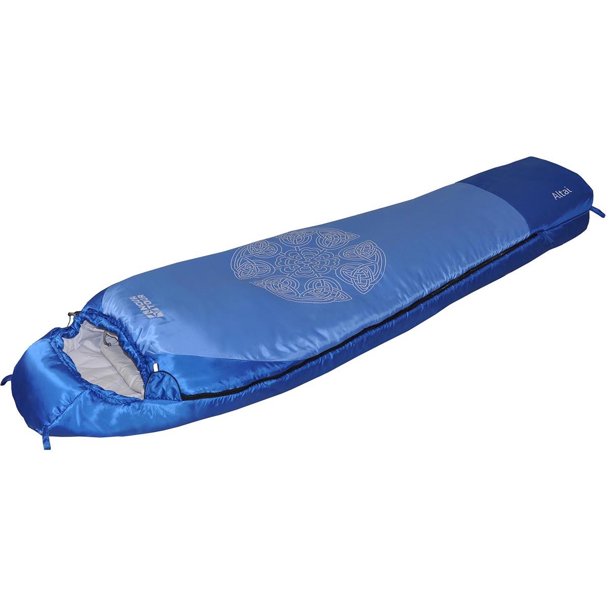 Мешок спальный NOVA TOUR Алтай -10 V2, цвет: синий, белый, правосторонняя молния95423-407-RightСпальный мешок NOVA TOUR Алтай -10 V2 имеет конструкцию кокон с синтетическим наполнителем. Оснащен утепленным утягивающимся капюшоном и шейным воротником, двухзамковой молнией, позволяющей состегнуть два спальника левого и правого исполнения в один двойной. Мешок выполнен из высококачественного полиэстера. Наполнен спальник двухслойным холлофайбером - уникальным, особо теплым, гипоаллергенным утеплителем, каждое волокно которого тоньше волоса и имеет внутри себя еще 7 воздушных каналов. Компрессионный чехол в комплекте.Длина спальника: 220 см.
