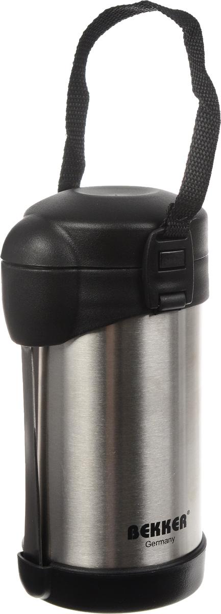 Термос Bekker Koch, с контейнерами, 500 мл. BK-43BK-43Пищевой термос с широким горлом Bekker Koch, изготовленный из высококачественной нержавеющей стали 18/8, является простым в использовании, экономичным и многофункциональным. Изделие с двойными стенками оснащено двумя небольшими контейнерами, ложкой и специальным ремнем для удобной переноски термоса. Термос с широким горлом предназначен для хранения горячей и холодной пищи, замороженных продуктов, мороженного, фруктов и льда и укомплектован вакуумной крышкой без кнопки. Такая крышка надежна, проста в использовании и позволяет дольше сохранять тепло благодаря дополнительной теплоизоляции.Легкий и прочный термос Bekker Koch сохранит ваши напитки и продукты горячими или холодными надолго. Высота (с учетом крышки): 18,5 см.Диаметр горлышка: 7 см.Диаметр контейнеров: 7 см, 8 см.Высота контейнеров: 3 см, 2,5 см. Длина ложки: 17 см.