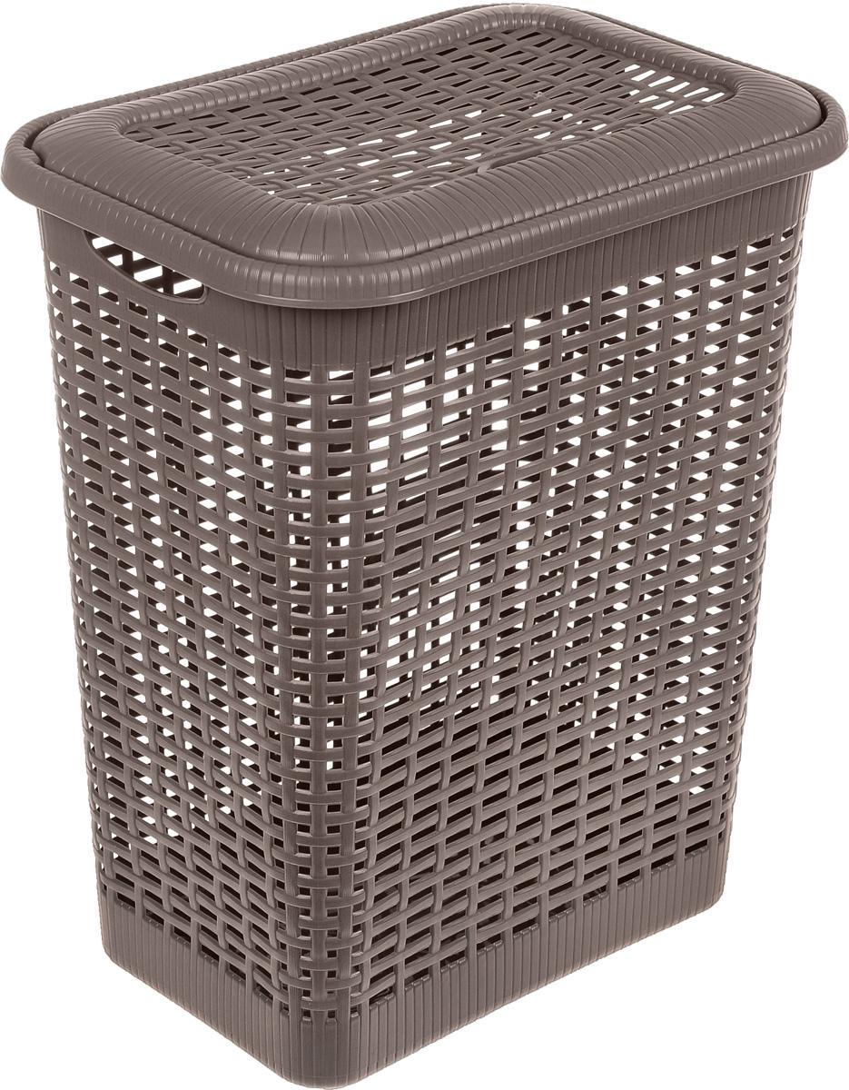 Корзина для белья Econova, цвет: коричневый, 30 л391602Корзина для белья Econova изготовлена из пластика с эффектом плетения. Оснащена двумя ручками для удобной переноски и откидной крышкой. Корзина легкая и надежная, с вентиляционными отверстиями в стенках. Пластиковые корзины - идеальный вариант для влажного помещения, они не подвержены плесени, деформации, коррозии. Прекрасно подходят для хранения тонких, дорогих вещей, так как не оставляют зацепок, которые могут безнадежно испортить вещь.