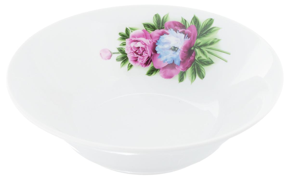 Салатник Идиллия. Пион, 1,15 л54 009312Великолепный круглый салатник Идиллия. Пион, изготовленный из высококачественного фарфора, прекрасно подойдет для подачи различных блюд: закусок, салатов или фруктов. Такой салатник украсит ваш праздничный или обеденный стол, а оригинальное исполнение понравится любой хозяйке.