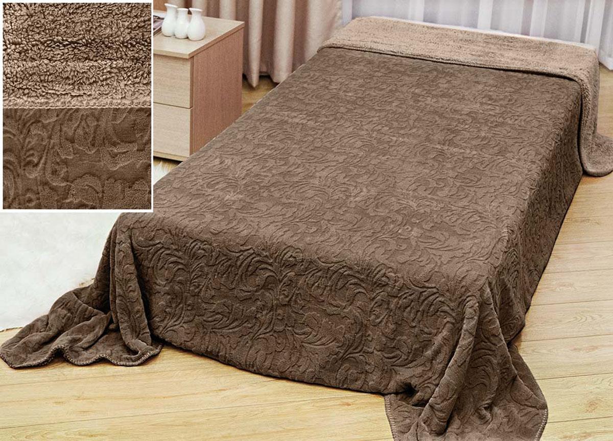 Плед Аbsolute Lux, тесненый на меху, цвет: коричневый, 180 х 230 см. 517941004900000360плотность 410 гр/м2