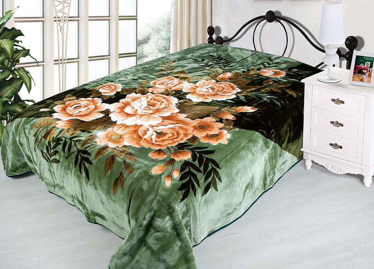 Плед Tamerlan, нестриженый, цвет: зеленый, коричневый, 160 х 210 см. 68455531-301плотность 510 гр/м2