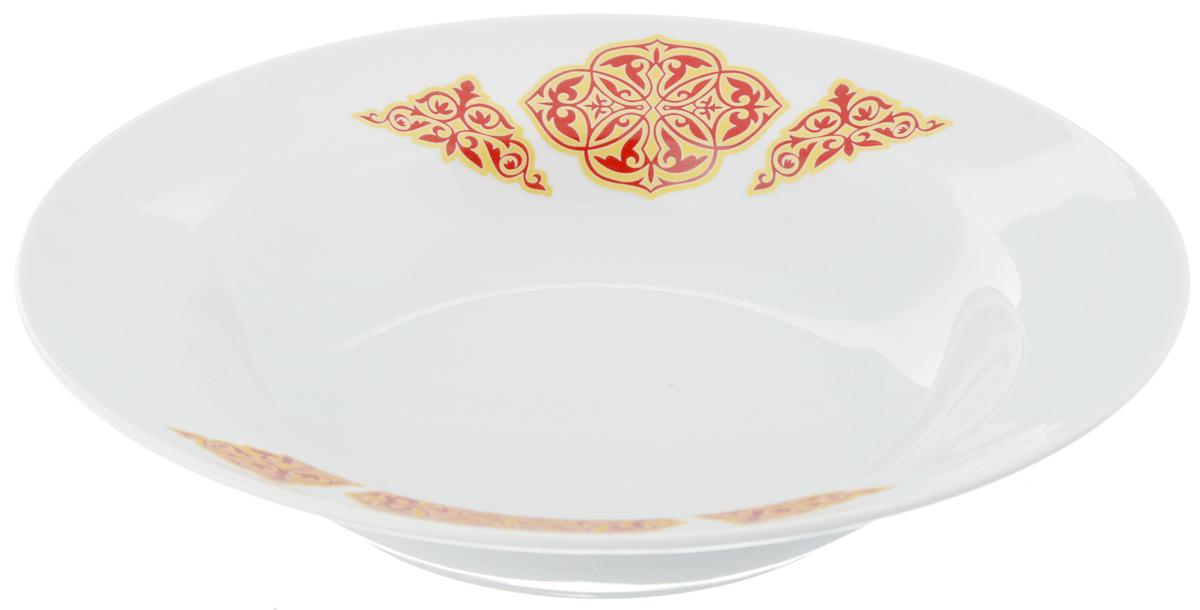 Тарелка глубокая Идиллия. Восточный, диаметр 24 см54 009312Тарелка глубокая Идиллия. Восточный, выполненная из высококачественного фарфора, идеальна для сервировки стола первыми блюдами. К тому же, такая тарелка великолепна в качестве емкости при приготовлении - ее можно использовать для ингредиентов салатов, закусок и других блюд. Она прекрасно впишется в интерьер вашей кухни и станет достойным дополнением к кухонному инвентарю. Тарелка Идиллия. Восточный подчеркнет прекрасный вкус хозяйки и станет отличным подарком.