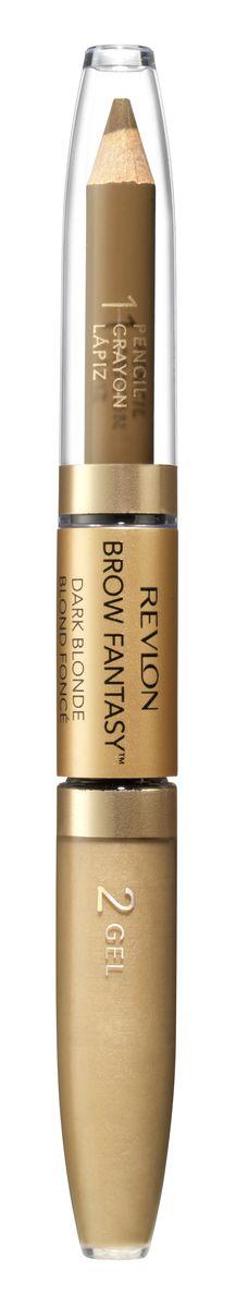 Revlon Карандаш И Гель для Бровей Colorstay Brow Fantasy Pencil & Gel Blonde 104 14 г7212842001Карандаш и гель для бровей Brow Fantasy окрашивает, оформляет и фиксирует форму бровей, в течение всего дня придавая им красивый и ухоженный вид. Благодаря этому уникальному и практичному средству вы создадите желаемый образ: акцентированную, чётко очерченную линию брови, или же мягкий и естественный вид. Начните нанесение грифельной частью карандаша, следуя естественной дуге брови, заполняя пространства между волосками. Тонированный гель фиксирует форму бровей и придаёт линии ещё более чёткую очерченность. Как карандаш, так и гель можно наносить либо в небольшом количестве, либо в несколько слоёв - в зависимости от того образа, который вы хотите создать.Аккуратно подвести брови вдоль роста