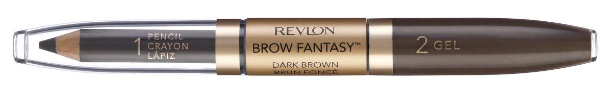 Revlon Карандаш И Гель для Бровей Colorstay Brow Fantasy Pencil & Gel Dark brown 106 14 г5010777142037Карандаш и гель для бровей Brow Fantasy окрашивает, оформляет и фиксирует форму бровей, в течение всего дня придавая им красивый и ухоженный вид. Благодаря этому уникальному и практичному средству вы создадите желаемый образ: акцентированную, чётко очерченную линию брови, или же мягкий и естественный вид. Начните нанесение грифельной частью карандаша, следуя естественной дуге брови, заполняя пространства между волосками. Тонированный гель фиксирует форму бровей и придаёт линии ещё более чёткую очерченность. Как карандаш, так и гель можно наносить либо в небольшом количестве, либо в несколько слоёв - в зависимости от того образа, который вы хотите создать.Аккуратно подвести брови вдоль роста