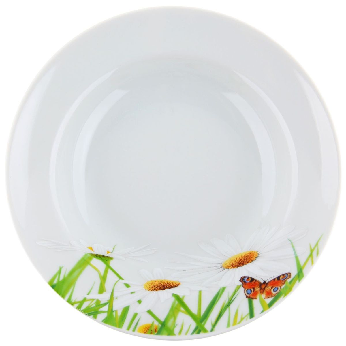 Тарелка глубокая Идиллия. Ромашка, диаметр 24 см115510Глубокая тарелка Идиллия. Ромашка выполнена из высококачественного фарфора и украшена ярким цветочным рисунком. Она прекрасно впишется в интерьер вашей кухни и станет достойным дополнением к кухонному инвентарю. Тарелка Идиллия. Ромашка подчеркнет прекрасный вкус хозяйки и станет отличным подарком.