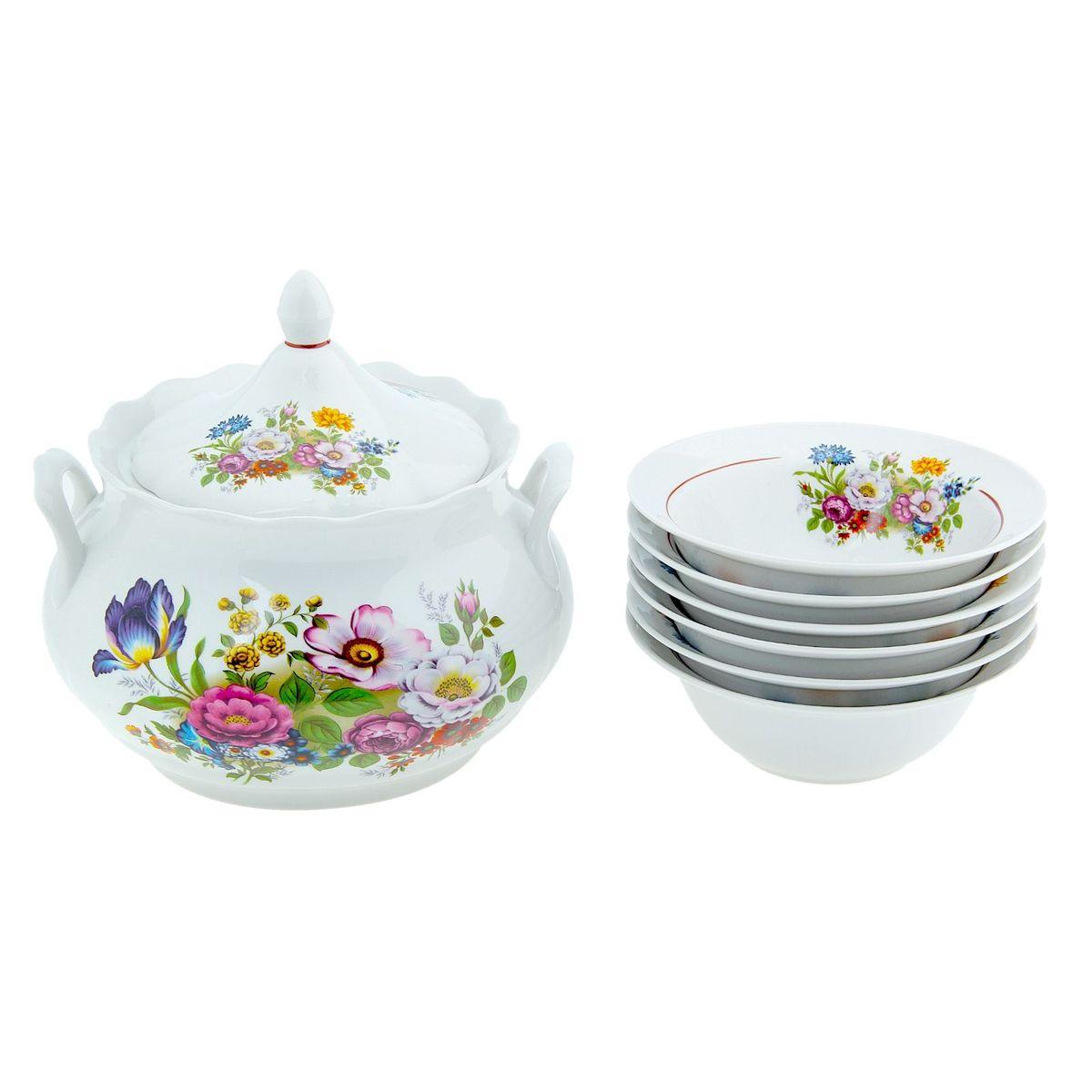 Набор для пельменей Романс. Букет цветов, 7 предметов115510ваза для супа 3 л, 1 шт.;миска d=17,5 см, 6 шт.