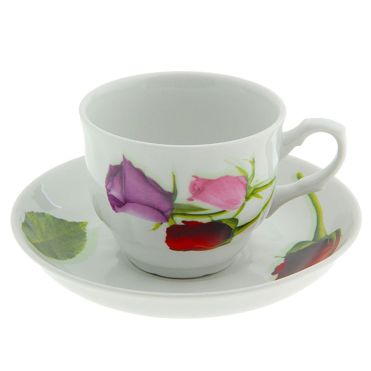 Чайная пара Тюльпан. Королева цветов, 2 предмета507778Чайная пара 250 мл, ф. 272 Тюльпан Королева цветов набор (чашка+ блюдце)