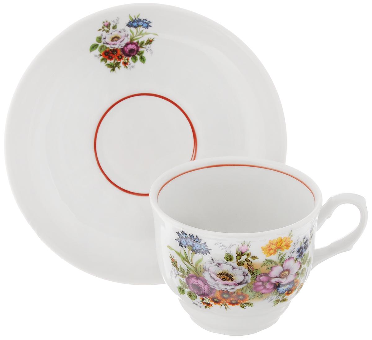 Чайная пара Тюльпан. Букет цветов, 2 предмета54 009312Чайная пара Тюльпан. Букет цветов состоит из чашки и блюдца, изготовленных из высококачественного фарфора. Яркий дизайн изделий, несомненно, придется вам по вкусу.Чайная пара Тюльпан. Букет цветов украсит ваш кухонный стол, а также станет замечательным подарком к любому празднику.Диаметр чашки (по верхнему краю): 8,5 см.Высота чашки: 7 см.Диаметр блюдца (по верхнему краю): 15 см.Высота блюдца: 3 см.