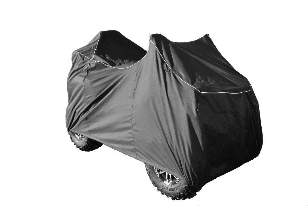 Чехол AG-brand, для квадроцикла ATV Stels Guepard 800, транспортировочный, цвет: черныйK100Удобный чехол AG-brand предназначен для транспортировки квадроцикла на открытом прицепе, а также для уличного или гаражного хранения. Подходит на модели Stels Guepard. Конструктивные особенности чехла позволяют эксплуатировать технику с ветровым стеклом, зеркалами и кофрами. Утягивающие стропы надежно фиксируют чехол на квадроцикле. Изготавливается чехол из высокопрочной водонепроницаемой ткани, имеют резинку по периметру для удержания чехла. Светоотражающий кант делает технику заметной в темное время суток.