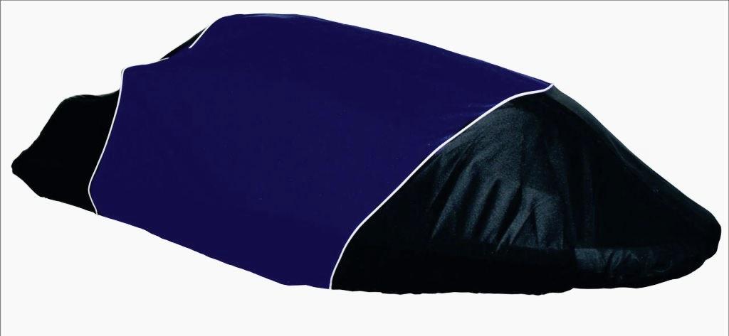 Чехол AG-brand, для гидроцикла Yamaha SuperJet, цвет: черный, синийK100Чехол AG-brand предназначен для хранения и транспортировки гидроцикла Yamaha SuperJet. Он изготовлен из высокопрочной плотной тентовой ткани с высоким показателем водоупорности. Модель не пропускает уличные пыль и грязь. Все швы изделия выполнены с двойным подгибом - гарантия прочности и бережного отношения к вашей технике. По нижней кромке чехла вшита плотная резинка, обеспечивающая надежную фиксацию на гидроцикле. Чехол имеет светоотражающий кант, клапана для выхода избыточного воздуха и молнию под заливную горловину бака.В комплект транспортировочного чехла входит прочная текстильная стропа для крепления техники в прицепе или специальном боксе для перевозки.