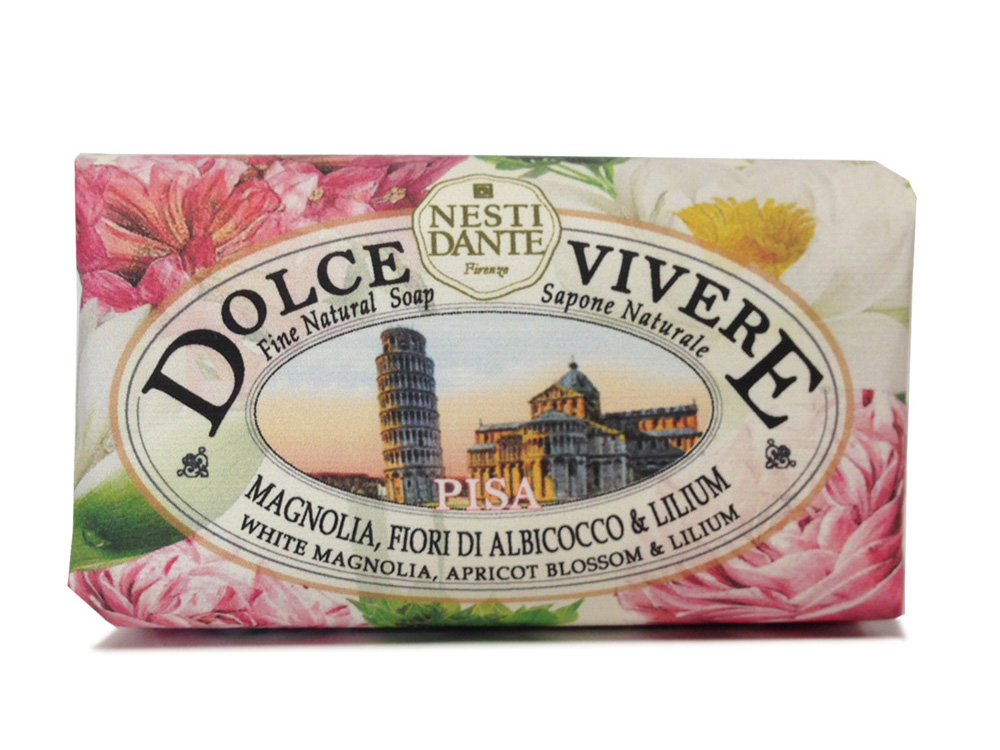 Nesti Dante Мыло Dolce Vivere. Пиза, 250 гCF5512F4Великолепное растительное мыло премиум-класса Nesti Dante Dolce Vivere. Пиза изготовлено по старинным рецептам и по традиционной котловой технологии, в составе мыла только натуральные оливковое и пальмовое масло высочайшего качества, для ароматизации использованы органические эфирные масла. Мыло Dolce Vivere переносит вас в самые очаровательные места Италии, прекрасные и вдохновляющие виды заливов, городов и деревень, полных очарования, культуры и истории. Мыло Nesti Dante Dolce Vivere. Пиза имеет приятный аромат с аккордами магнолии, сирени и цветов абрикоса. Изысканная флорентийская бумага, в которую завернуто мыло, расписана акварелью, на каждом кусочке мыла выгравирована надпись With Love And Care (С любовью и заботой). Товар сертифицирован.