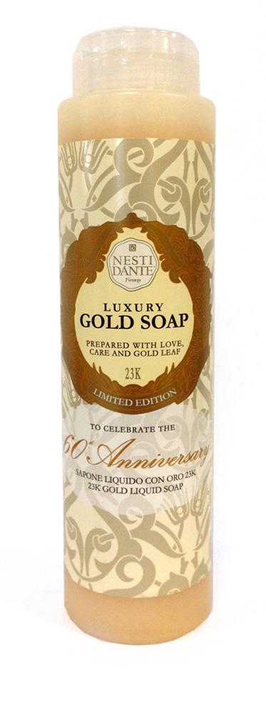 Nesti Dante Гель для душа Anniversary Gold Soap-Юбилейный золотой 300 млA8339500Жидкое мыло и гели Nesti Dante производится исключительно из растительных масел и содержит 100% оливковое масло. Содержащееся в продуктах оливковое масло известно как «эликсир молодости» благодаря высокой концентрацией витамина Е, который помогает бороться с образованием свободных радикалов, повинных в старении кожи.