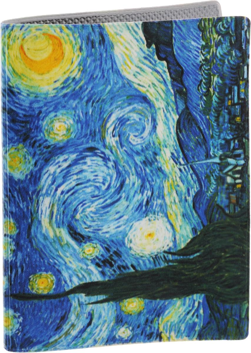 Обложка для паспорта Ван Гог Звездная ночь. OZAM0021-022_516Обложка для паспорта, выполненная из поливинилхлорида, оформлена изображением картины Ван Гога Звездная ночь. Такая обложка не только поможет сохранить внешний вид ваших документов и защитит их от повреждений, но и станет стильным аксессуаром, идеально подходящим вашему образу. Яркая и оригинальная обложка подчеркнет вашу индивидуальность и изысканный вкус. Обложка для паспорта стильного дизайна может быть достойным и оригинальным подарком. Характеристики:Материал: ПВХ (поливинилхлорид). Размер (в сложенном виде): 7 см х 10,3 см х 1 см. Артикул: VIZIT165.