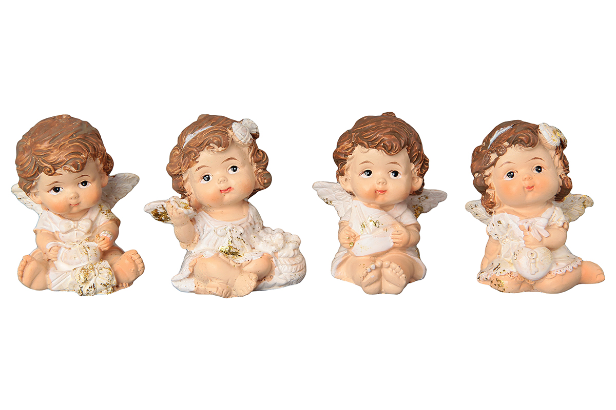 Фигурка декоративная Elan Gallery Ангелочки, высота 5 см, 4 предметаMARTINEZ 75032-1W ANTIQUEДекоративные фигурки - это отличный способ разнообразить внутреннее убранство вашего дома. Декоративная фигурка с изображением ангелов станет прекрасным сувениром, который вызовет улыбку и поднимет настроение.Фигурка выполнена из полистоуна.Комплектация: 4 статуэтки.