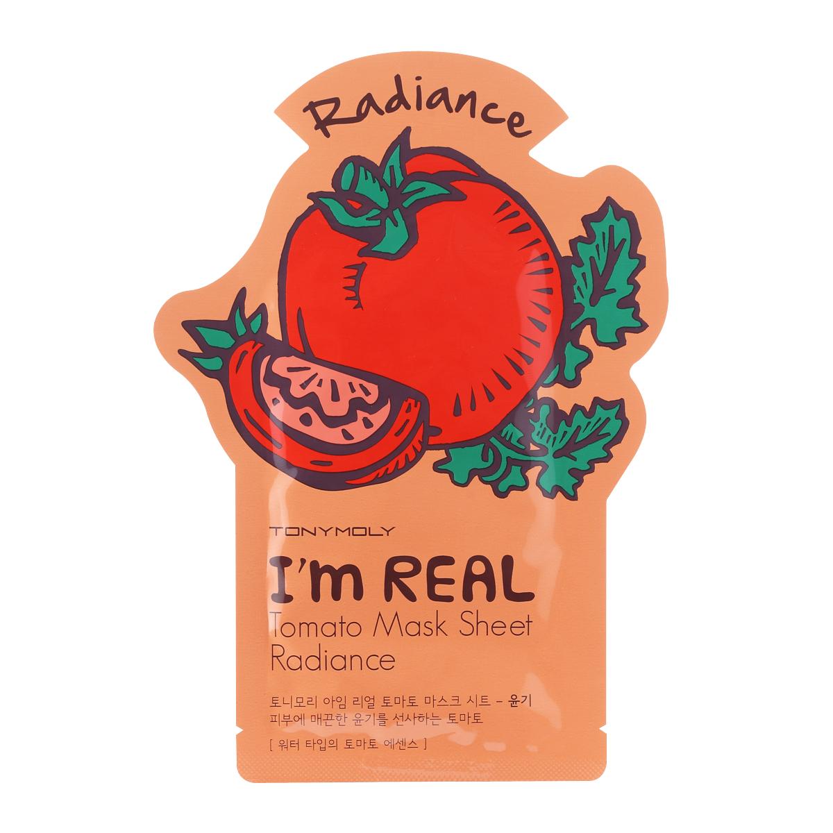 TonyMolyТканевая маска с экстрактом томата Im Real Tomato Mask Sheet, 21млFS-00897Тканевая маска для сияния кожи с экстрактом томата Tony Moly Im real Tomato Mask Sheet - увлажняющая и укрепляющая кожу антиоксидантная маска для уставшей кожи. Обладает легким отбеливающим эффектом и повышает эластичность кожи. После нее цвет кожи становится однородным, поры стягиваются, стираются следы усталости. В составе — бетаглюканы, ликопин (томат), эсктракт киви, аллантоин, витамин E. Ликопин и витамин Е — антиоксиданты, улучшают цвет лица, борются со свободными радикалами. Маска состоит из трех слоев, что способствует более глубокому и интенсивному проникновению полезных веществ в клетки кожи. Не содержит парабенов, талька и искусственных красителей. Марка Tony Moly чаще всего размещает на упаковке (внизу или наверху на спайке двух сторон упаковки, на дне банки, на тубе сбоку) дату изготовления в формате: год/месяц/дата.