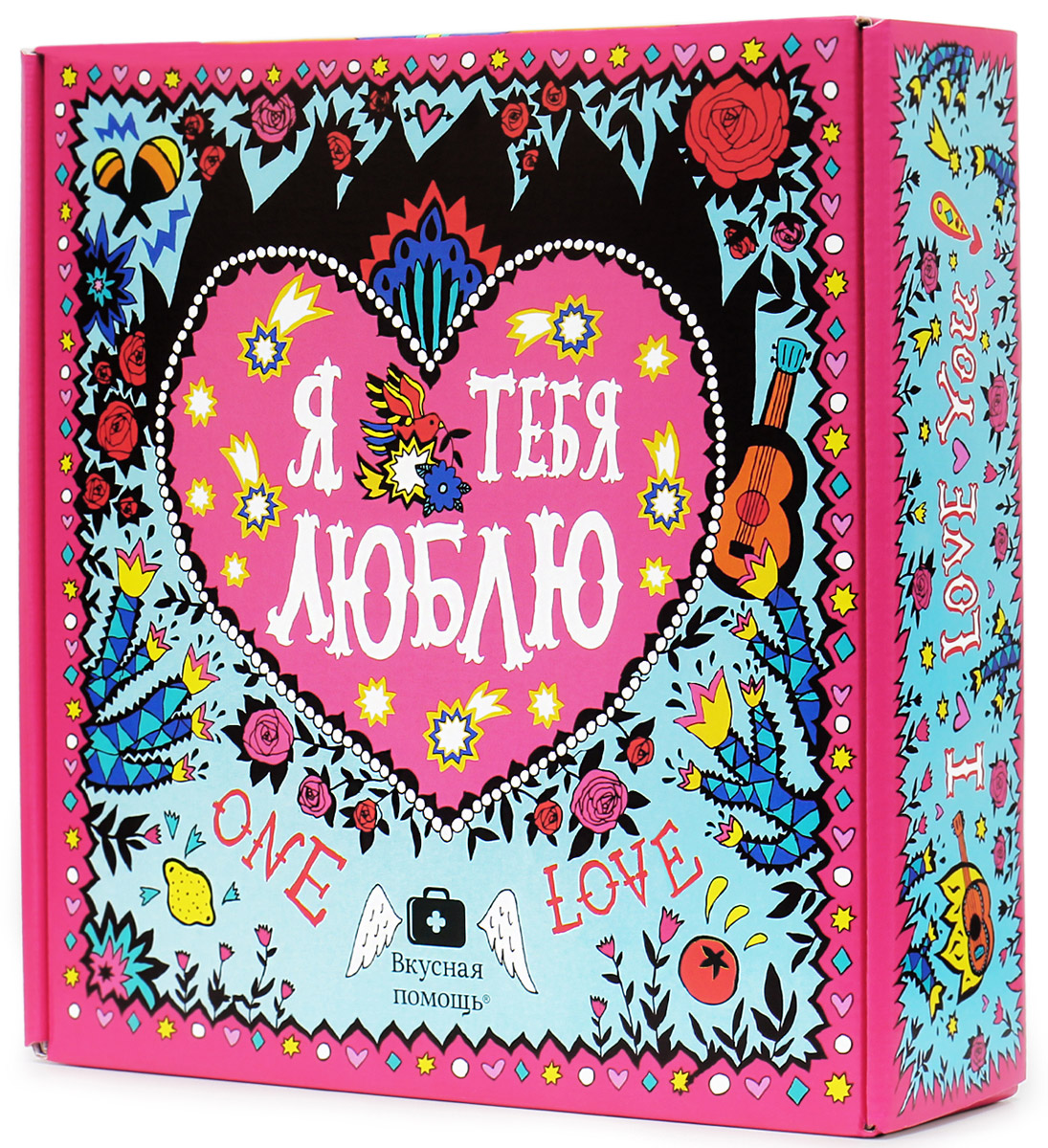 Вкусная помощь Мексиканская любовь набор конфет, 342 г0120710О, эта любовь - чистая, прекрасная и по-мексикански обжигающая! Испытав такую любовь, забываешь обо всем на свете - хоть земной шар надвое расколи, все ни по чем, лишь бы вторая половинка была рядом.Для горячих и страстных мы создали яркий набор - сладкую коробку Мексиканская любовь.Внутри вы найдете:- Воздушный десерт Маршмеллоу (32 г) - для блаженства; - Ванильное печенье с предсказаниями (8 шт, 52 г) - чуть-чуть волшебства; - Черный чай Имбирный (20 г) - немного огня; - Арахис в сахаре с ароматом яблока (85 г) - сладкое удовольствие; - Мармелад жевательный Земляничка (55 г) - любовные конфеты в банке; - Фигурный сахар Я люблю тебя (98 г) - сделает сладким что угодно.