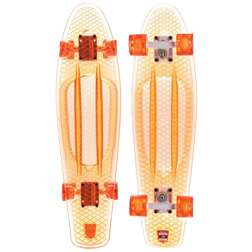 Пластборд Union Coral, цвет: прозрачный, дека 71 х 19 см. PLST770012RA-Пластборд Юнион (Union) - это пластиковый скейтборд-круизер с загнутым хвостом для передвижения по городу и трюкачества. Очень прочная дека, качественные подвески, подшипники и колеса сделают вашу езду плавной и комфортной.Технические характеристики:-Дека из прочного полиуретана повышенной прочности и эластичности.-Подвески из алюминия.-Бушинги Union 89А.-Подшипники - Union Water Prof Abec7 (водонепроницаемая конструкция).-Колеса - круизного типа Union Virage диаметром 59 мм с стандартной мягкостью 83А.-Колеса, которые светятся при езде.-Нестирающееся цепкое покрытие.-Различные расцветки в ассортименте.
