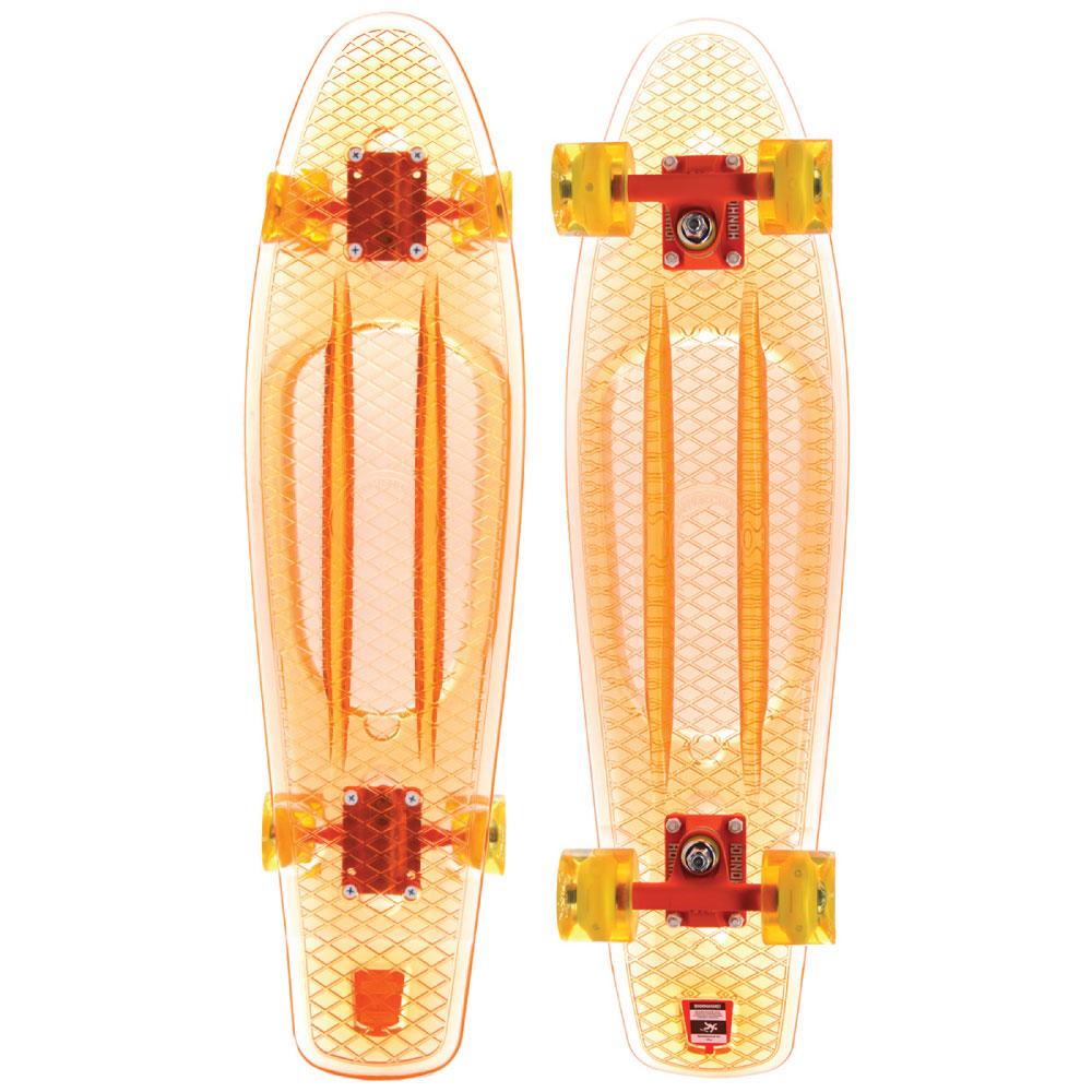 Пластборд Union Coral, цвет: прозрачный, дека 57 х 15 смPLST770015Пластборд Юнион (Union) - это пластиковый скейтборд-круизер с загнутым хвостом для передвижения по городу и трюкачества. Очень прочная дека, качественные подвески, подшипники и колеса сделают вашу езду плавной и комфортной.Технические характеристики:-Дека из прочного полиуретана повышенной прочности и эластичности.-Подвески из алюминия.-Бушинги Union 89А.-Подшипники - Union Water Prof Abec7 (водонепроницаемая конструкция).-Колеса - круизного типа Union Virage диаметром 59 мм с стандартной мягкостью 83А.-Колеса, которые светятся при езде.-Нестирающееся цепкое покрытие.-Различные расцветки в ассортименте.